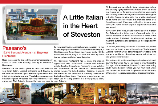Paesano's Italian Restaurant Steveston Richmond BC Award Winning Article Richmond News 2014