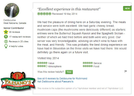 Paesano's Italian Restaurant Steveston Village Richmond BC - Trip Advisor Review May 2014