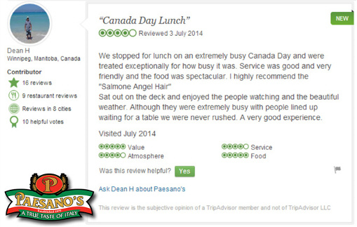 Paesano's Italian Restaurant Steveston Village Richmond BC - TripAdvisor Review Canada Day July 2014